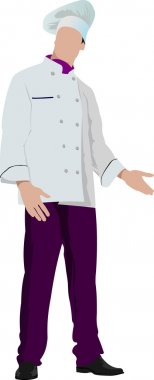 Chef cook in white. Vector illustration