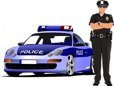 Police woman standing near police car isolated on white. Vector