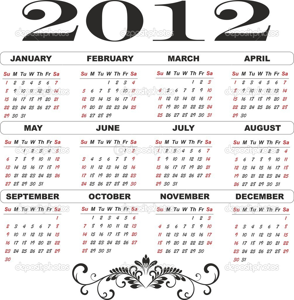 1965 évi naptár 2012 year calendar template — Stock Vector © Nikonas #7635430 1965 évi naptár