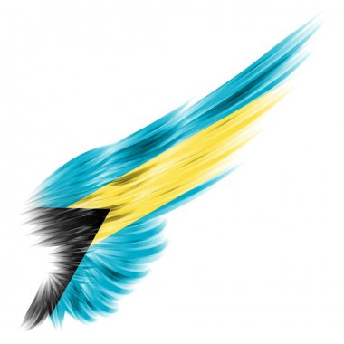 Wing with Bahamas flag on white background