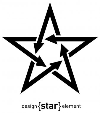 The Abstract design element black star with arrows stock vector
