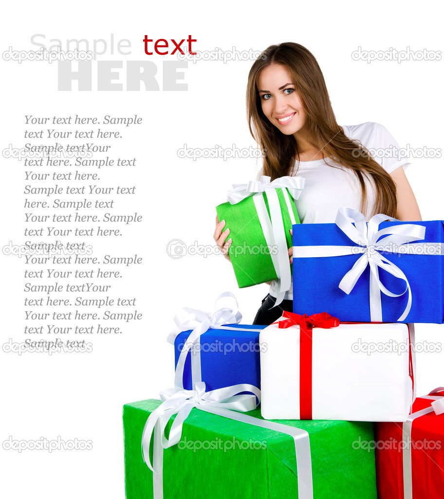 896c6fd2efd7 Mujer joven y bonita con regalos — Foto de stock © tan4ikk #7243960