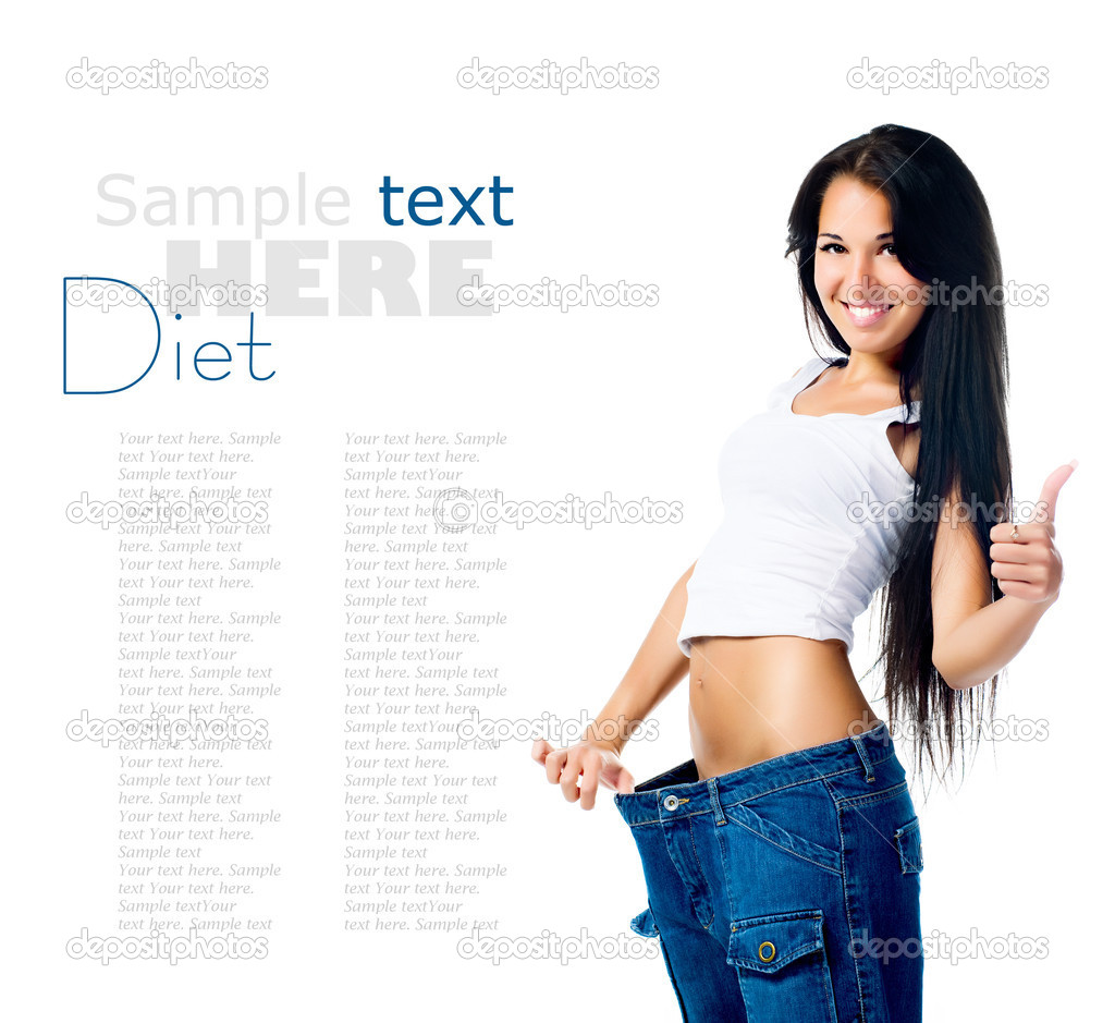 Happy Woman Demonstrating Weight Loss Stock Photo 7411947