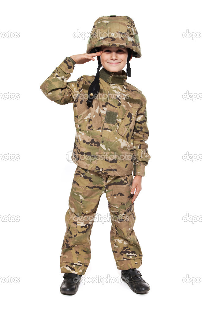 Saluting soldier. Young boy