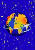 Planety a létající letadlo mezi hvězda