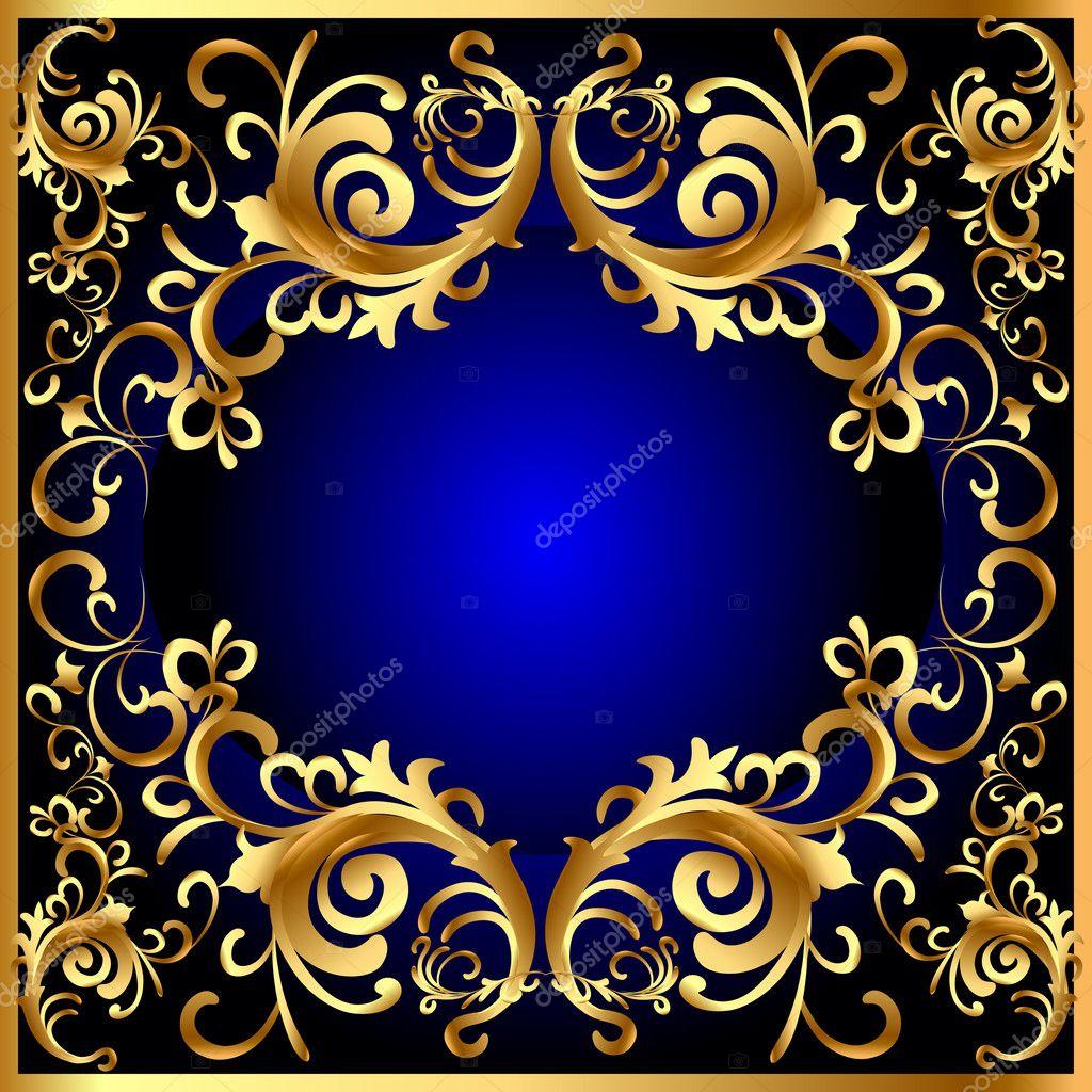Vintage Blue Frame With Vegetable Golden Pattern Stock