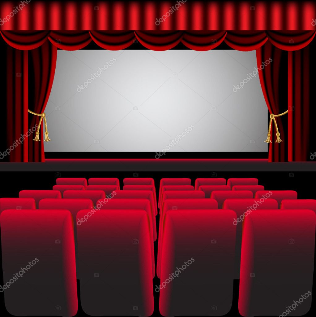 Cinema hall with red curtain and easy chair