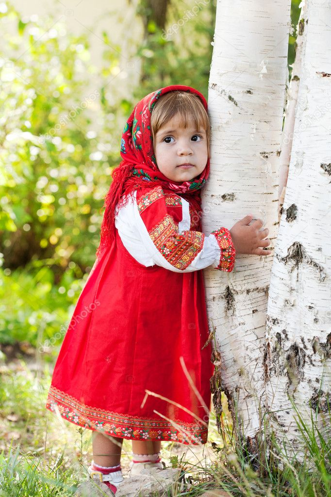 Little girl in Russian traditional dress