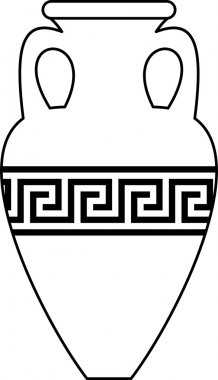 Vector white silhouette (contour) of ancient amphora (vase) with traditional Greek abstract meander pattern - isolated illustration on white background