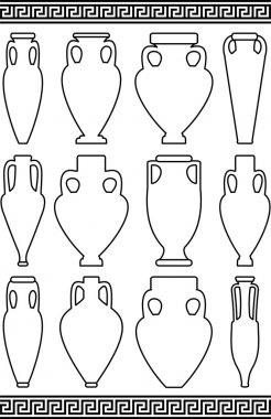 Vector set of black contours (white silhouettes) of ancient amphorae and vases, traditional Greek abstract meander pattern - isolated illustration on white background
