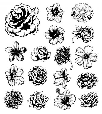 Set of grungy flowers. Vector EPS 10 illustration. stock vector