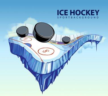 Vector illustration of surreal hockey rink