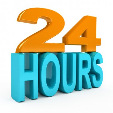 24 hours concept over white background