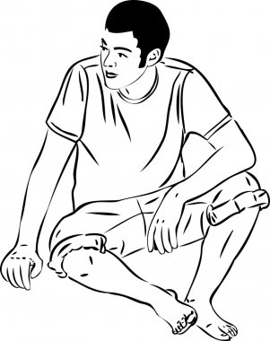 Sketch barefoot boy sits leaning on the arm