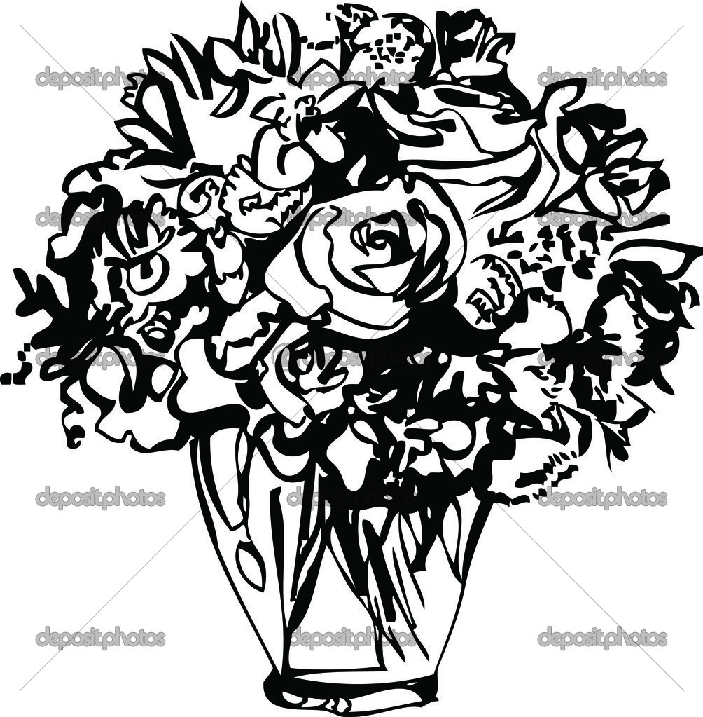 Black and white picture Roses in a Vase