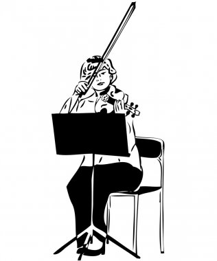 Sketch of a girl playing a violin viola