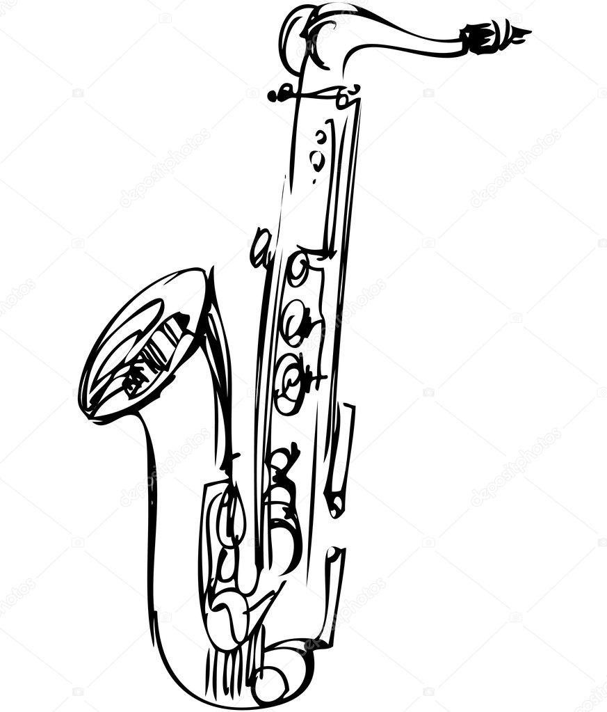 スケッチ金管楽器アルト サックス ストックベクター Artex67 7507360