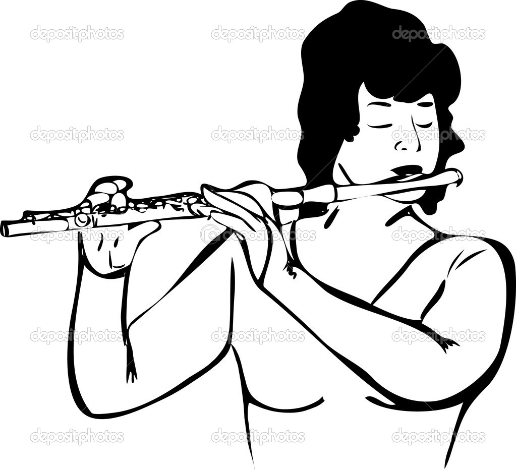 flute clipart black and white - 1023×932