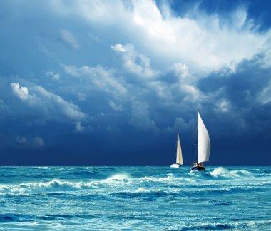 """Картина, постер, плакат, фотообои """"гром, буря, яхты картины города"""", артикул 6896857"""