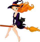 Witch riding a broom