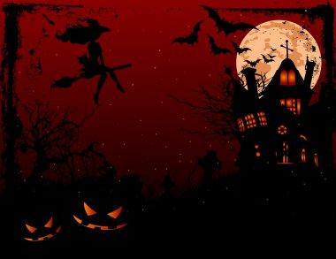 Halloween illustration of haunted house