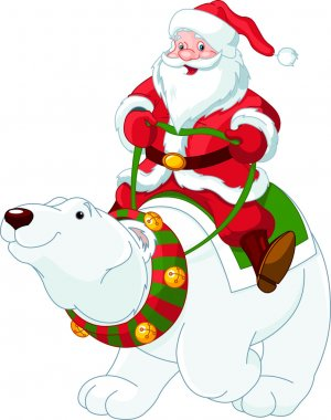 Santa Claus riding on polar bear