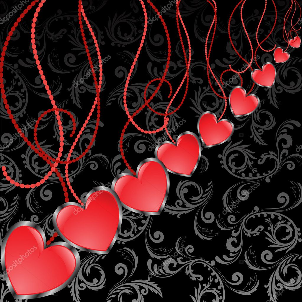Diagonal background with hearts