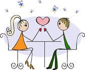Liebhaber in einem Café