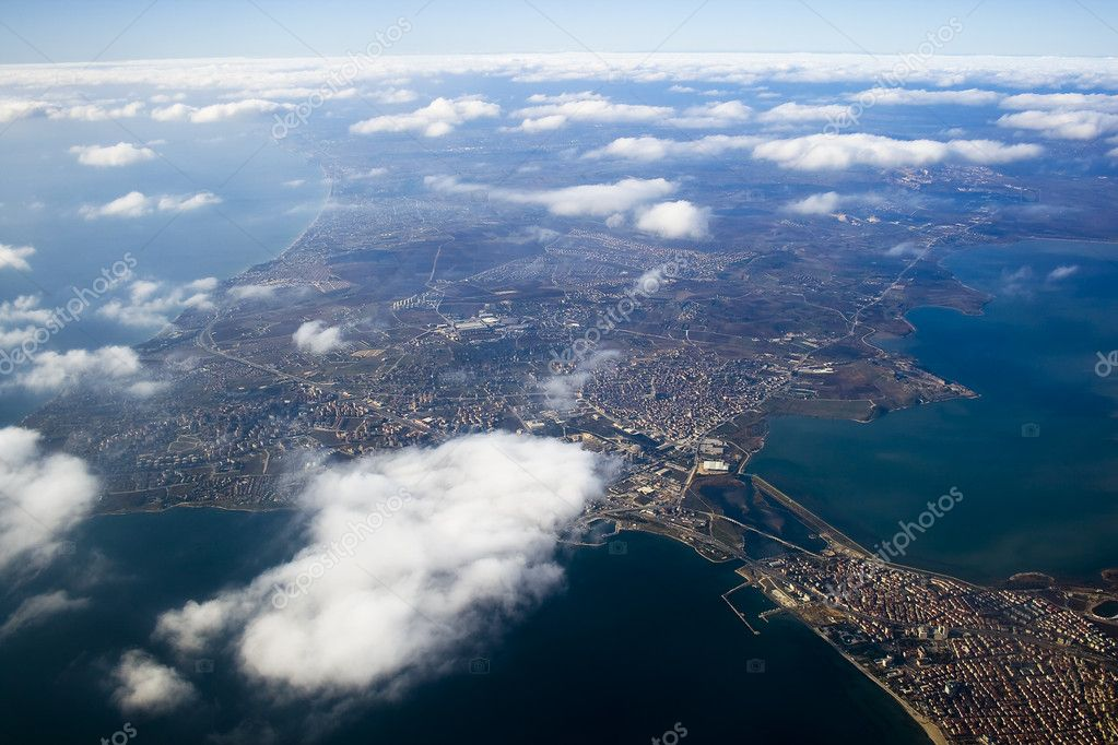 View from above on Istanbul city