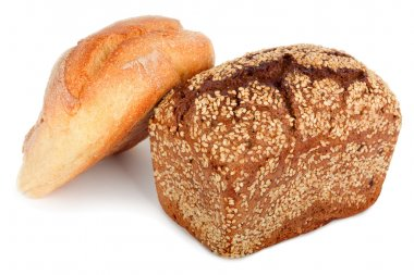 Baked rye bread with linseeds on the white isolated background