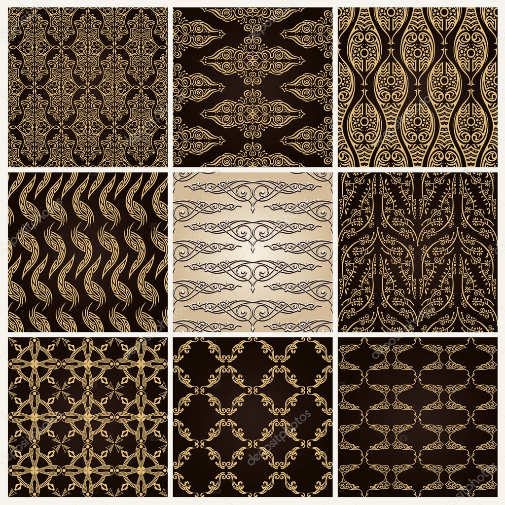 Vintage background ornate baroque pattern vector illustration stock - Seamless Vintage Background Set Ornate Baroque Wallpaper Stock Vector 7072481