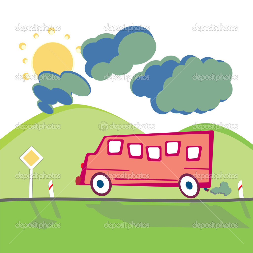 Bus On The Mountain Road Stock Vector C Antkevyv 7169768