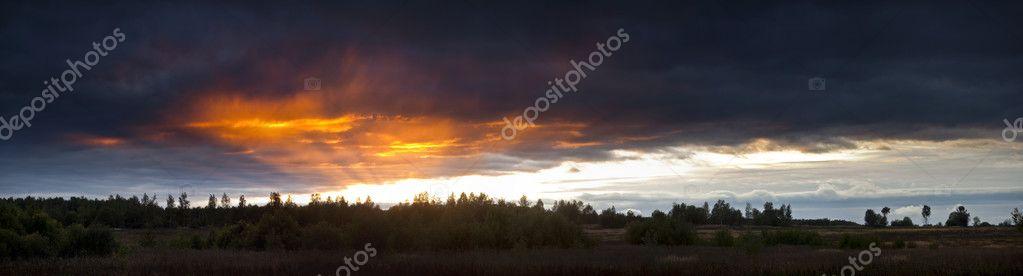 Evening panoramic landscape