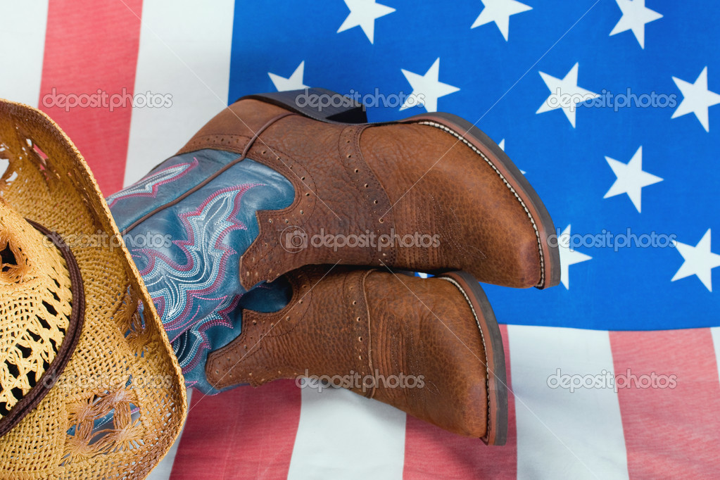 Cowboy boots and straw hat