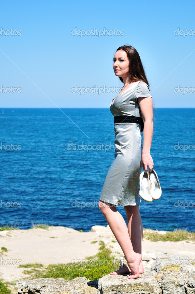 Barefoot young woman