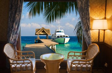 Hotel room and tropical landscape