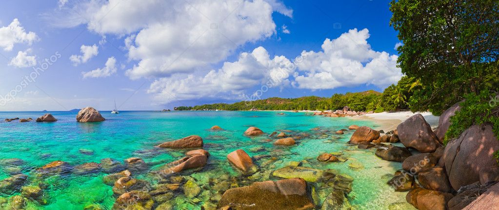 Panorama of beach Anse Lazio at Seychelles