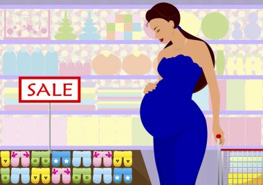 The pregnant woman in shop