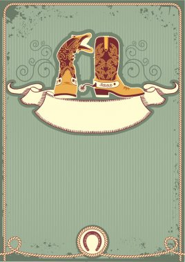 Cowboy boots.Vintage western decor background with rope and hors