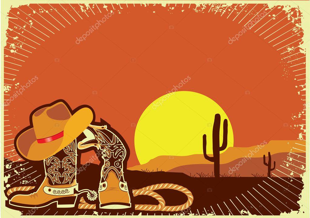 Cowboy's elements .Grunge wild western background of sunset