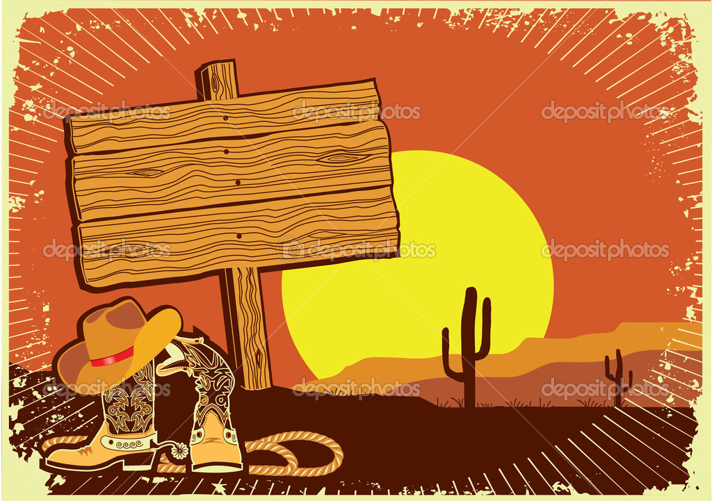 Cowboy's landscape .Grunge wild western background of sunset