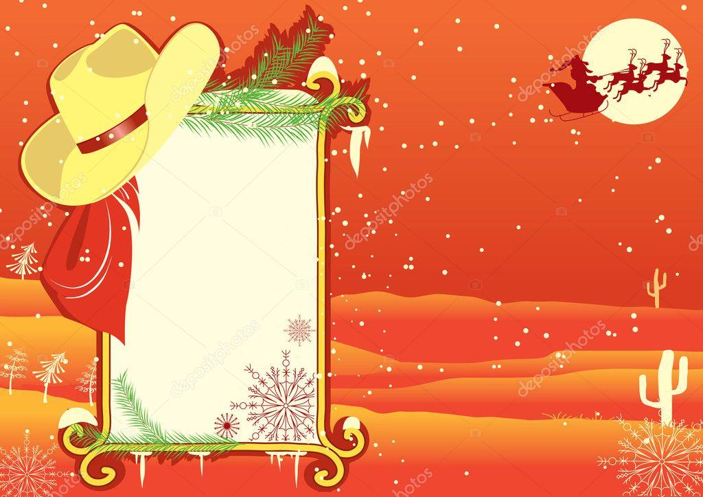 Plakat-Rahmen mit Cowboy hat.vector Christmasn Hintergrund für ...