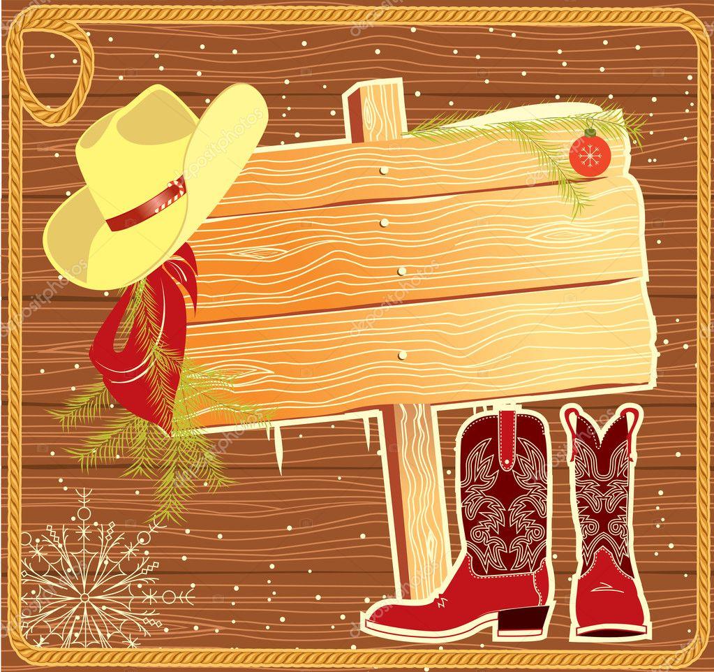 Plakat-Rahmen mit Cowboy hat.vector Weihnachten Hintergrund für ...