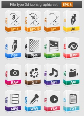 File type 3d icons set.