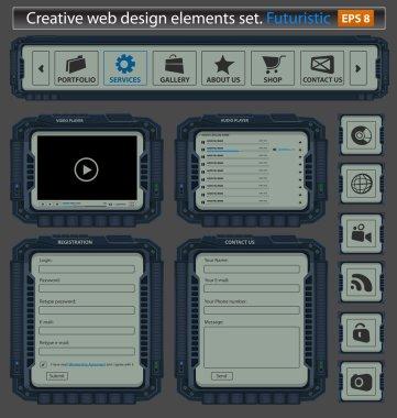 Creative web design elements set. Futuristic.