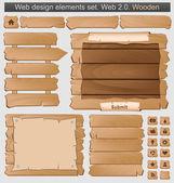 sada dřevěných webové prvky