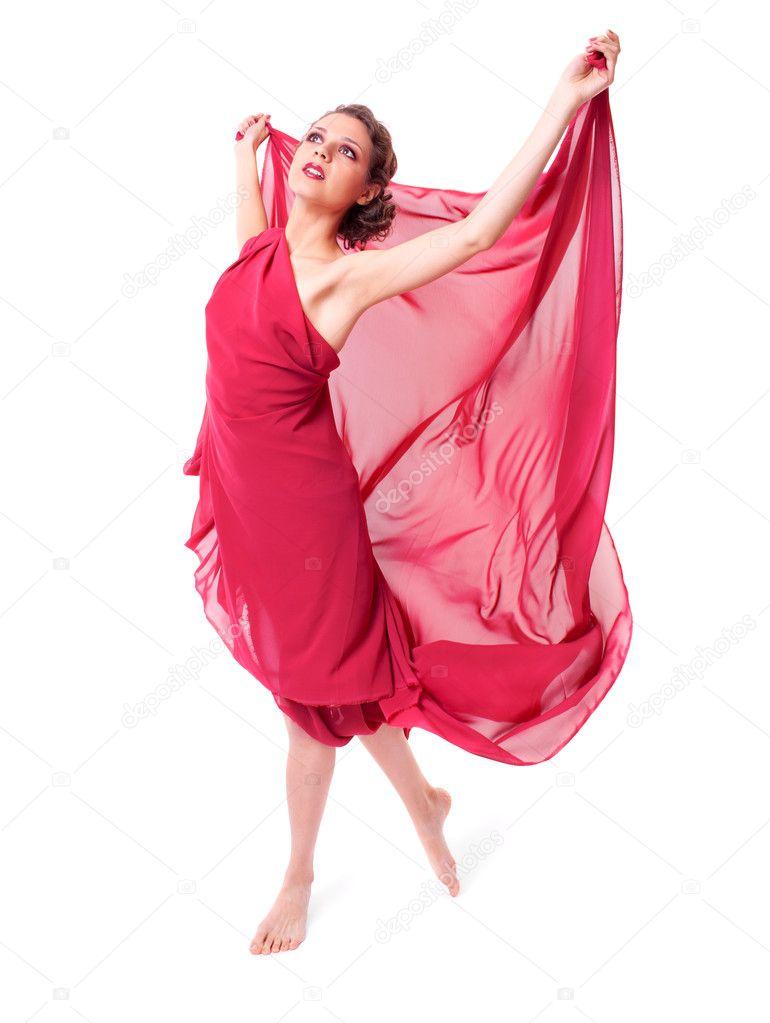 mujer hermosa en vuelo vestido rojo — Fotos de Stock © zastavkin ...
