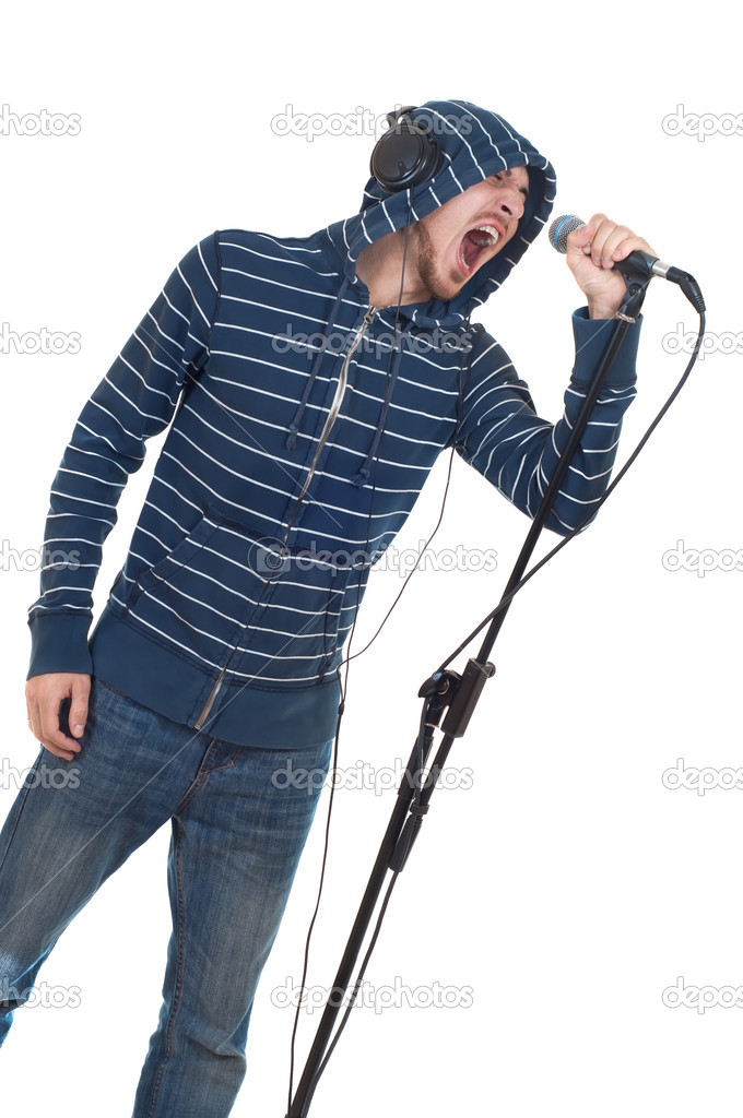 Rock singer isolated