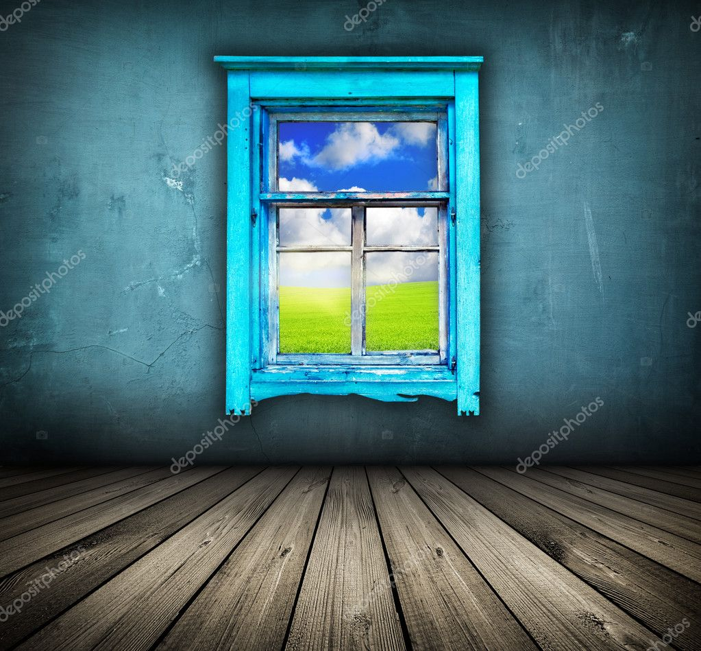 Blue room with wooden floor and window with field and sky above