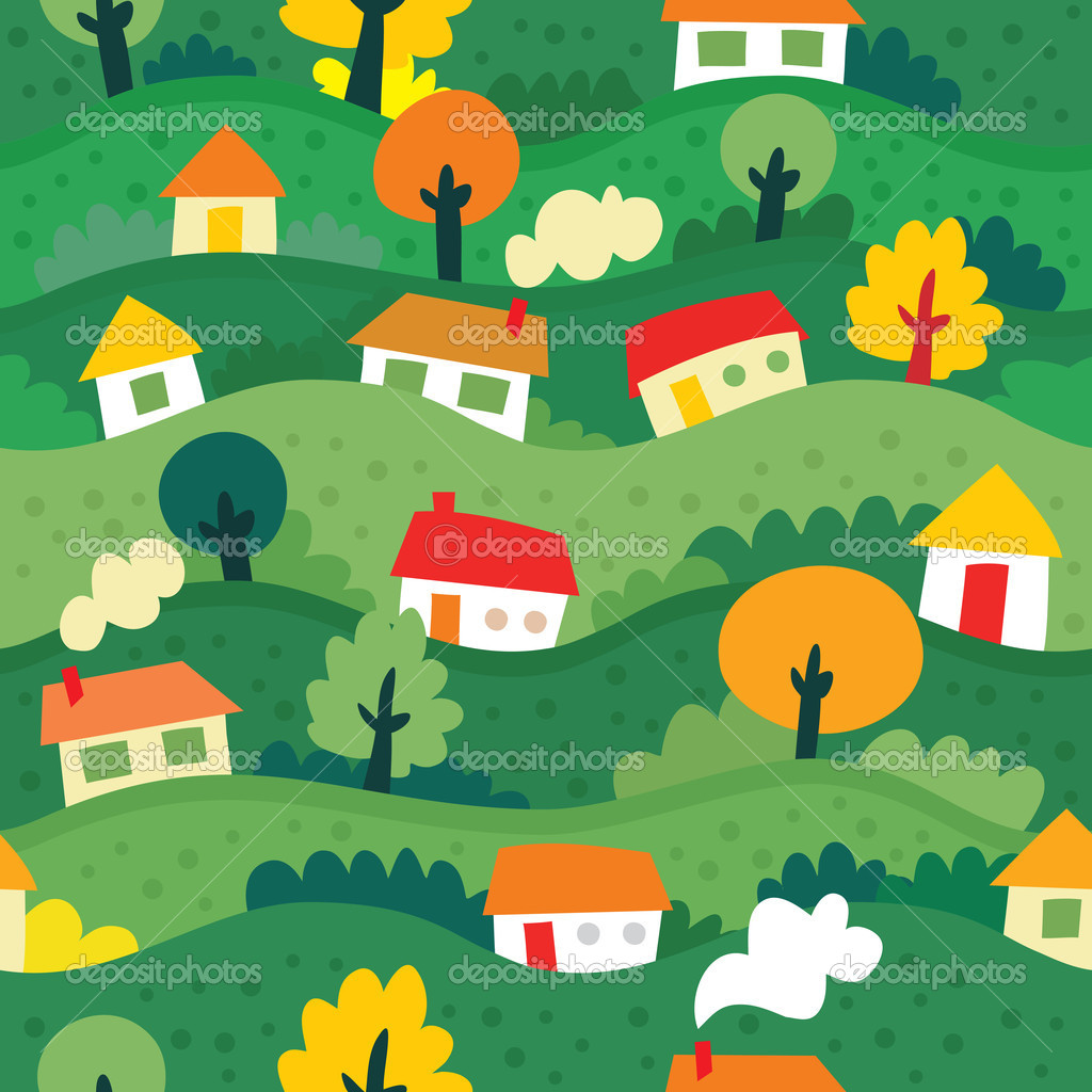 Seamless pattern with village